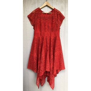 Anthropologie Maeve Prima Lace Asymmetrical Dress